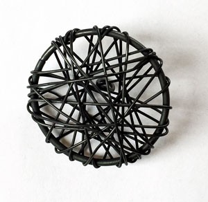 Sort metallknapp 30 mm (DSA)
