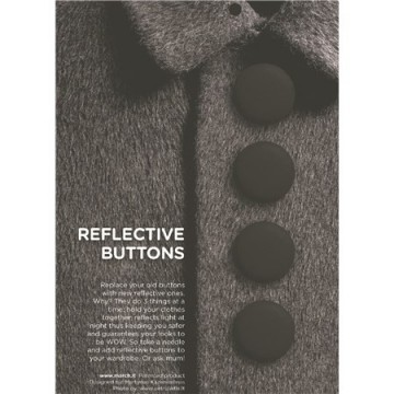 Reflective buttons black - 28 mm