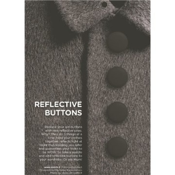 Reflective buttons black - 22 mm