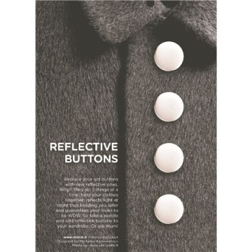 Reflective buttons white - 22 mm