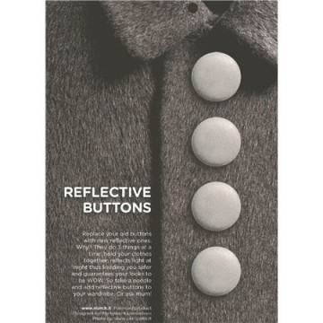 Reflective buttons silver - 28 mm