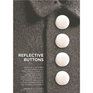 Reflective buttons white - 28 mm
